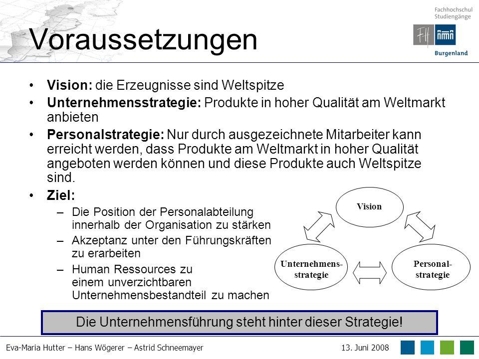 Eva-Maria Hutter – Hans Wögerer – Astrid Schneemayer13. Juni 2008 Voraussetzungen Vision: die Erzeugnisse sind Weltspitze Unternehmensstrategie: Produ