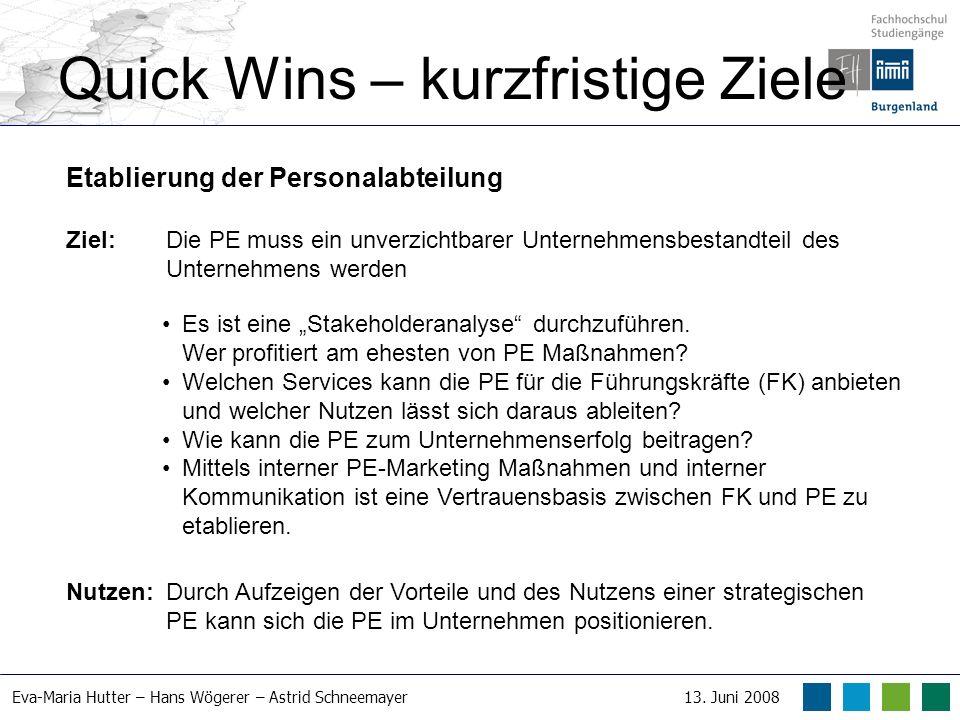 Eva-Maria Hutter – Hans Wögerer – Astrid Schneemayer13. Juni 2008 Quick Wins – kurzfristige Ziele Etablierung der Personalabteilung Ziel: Die PE muss
