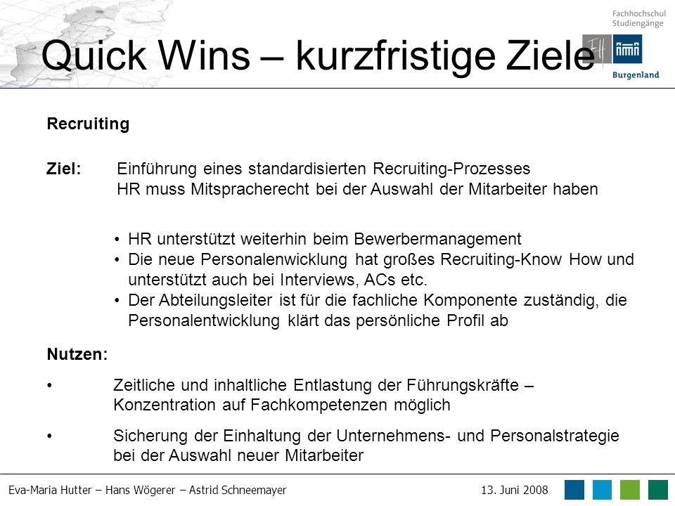Eva-Maria Hutter – Hans Wögerer – Astrid Schneemayer13. Juni 2008 Quick Wins – kurzfristige Ziele Recruiting Ziel: Einführung eines standardisierten R