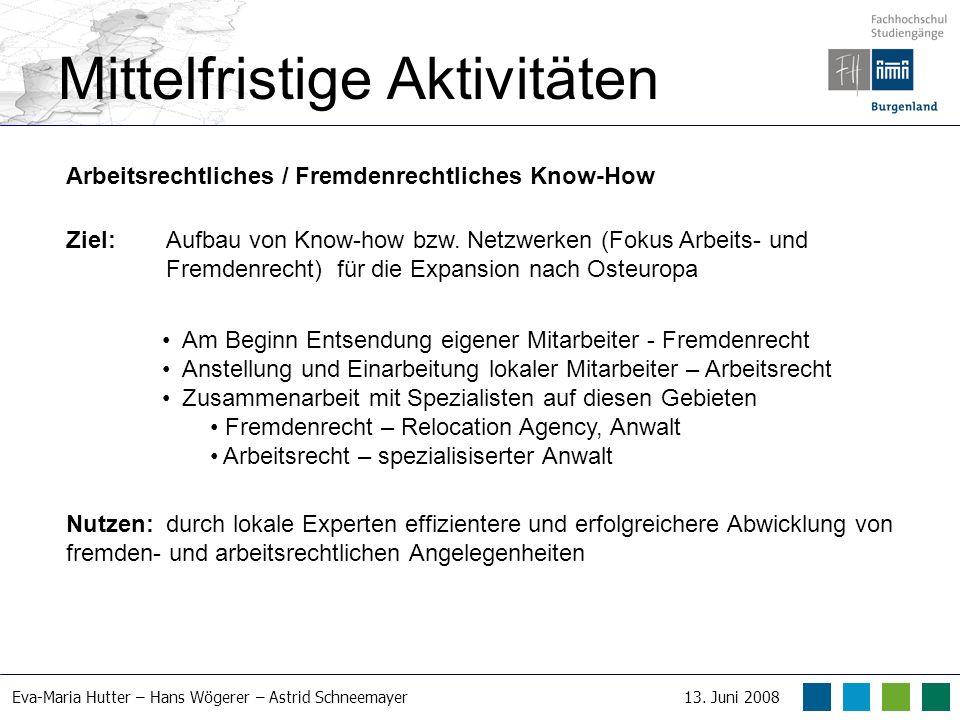 Eva-Maria Hutter – Hans Wögerer – Astrid Schneemayer13. Juni 2008 Mittelfristige Aktivitäten Arbeitsrechtliches / Fremdenrechtliches Know-How Ziel: Au