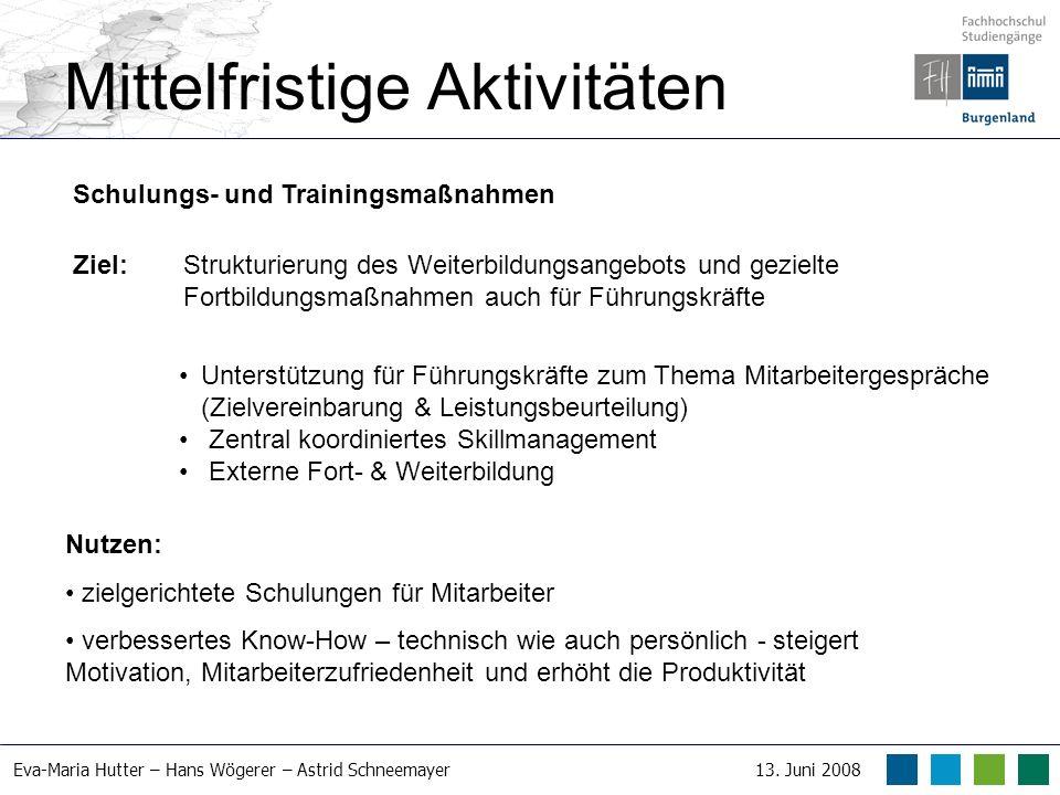 Eva-Maria Hutter – Hans Wögerer – Astrid Schneemayer13. Juni 2008 Mittelfristige Aktivitäten Schulungs- und Trainingsmaßnahmen Ziel: Strukturierung de