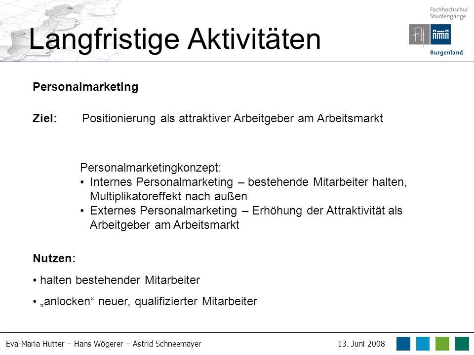 Eva-Maria Hutter – Hans Wögerer – Astrid Schneemayer13. Juni 2008 Langfristige Aktivitäten Personalmarketing Ziel: Positionierung als attraktiver Arbe