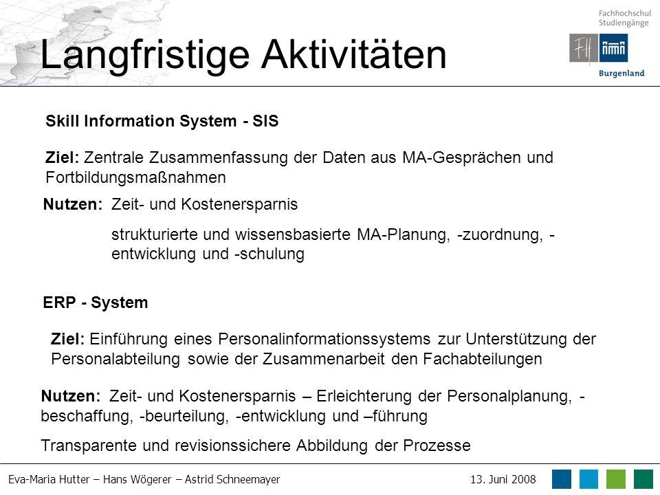 Eva-Maria Hutter – Hans Wögerer – Astrid Schneemayer13. Juni 2008 Langfristige Aktivitäten Skill Information System - SIS Ziel: Zentrale Zusammenfassu