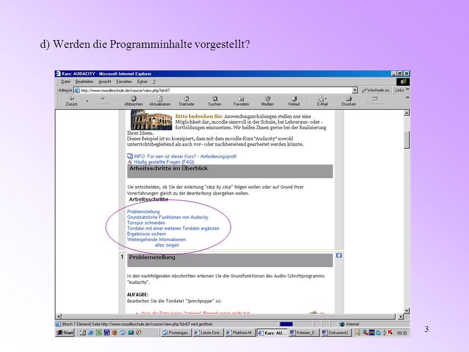 Moodle Kriterienkatalog4 e) Sind die Programminhalte klar und ü bersichtlich gegliedert?