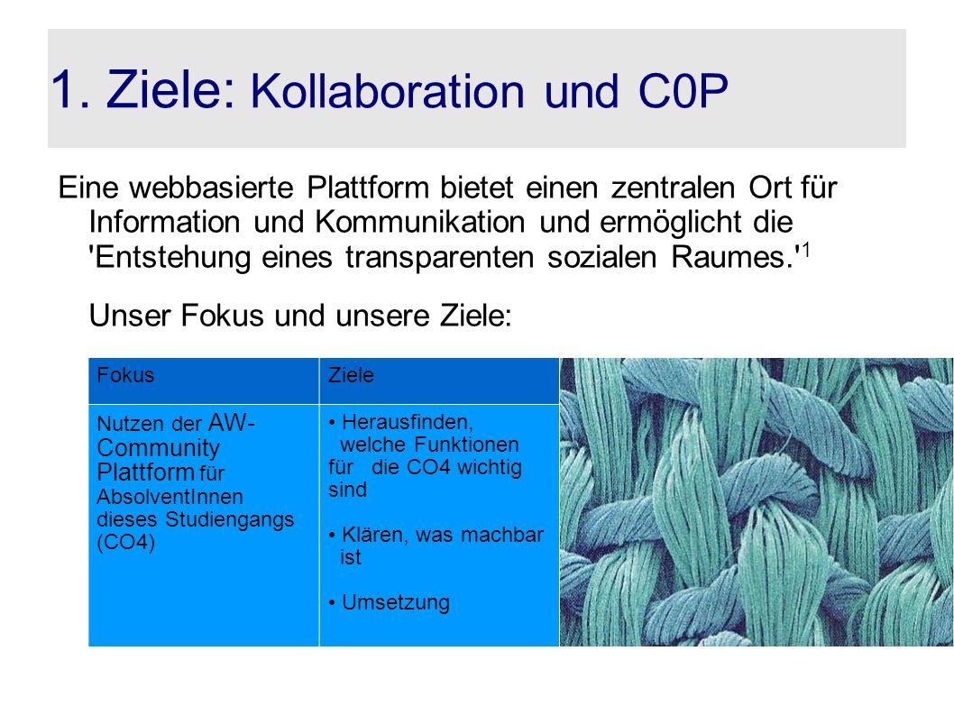 1. Ziele: Kollaboration und C0P Eine webbasierte Plattform bietet einen zentralen Ort für Information und Kommunikation und ermöglicht die 'Entstehung