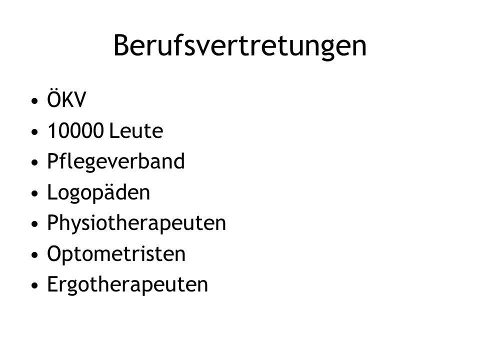 Berufsvertretungen ÖKV 10000 Leute Pflegeverband Logopäden Physiotherapeuten Optometristen Ergotherapeuten