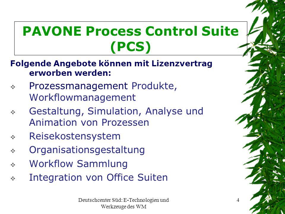 Deutschcenter Süd: E-Technologien und Werkzeuge des WM 5 PAVONE Process Control Suite (PCS) Projektmanagement Tools bieten folgenden Lösungen: (für das DCS äußerst wichtig!) Projektplanung und – steuerung Ressourcenplanung und –steuerung Kapazitätsmanagement Dokumentenablage und –verwaltung Skillmanagement Zeiterfassung Termin- und Urlaubserfassung Aktivitätenverwaltung Integration von Microsoft Projects Integration von Office Suiten