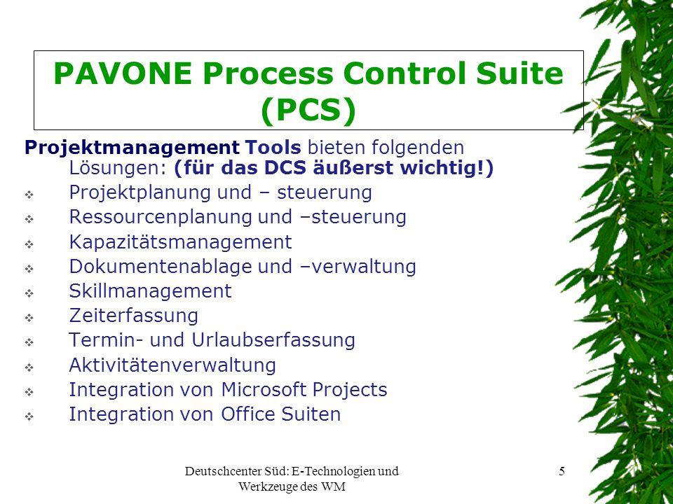 Deutschcenter Süd: E-Technologien und Werkzeuge des WM 6 PAVONE Process Control Suite (PCS) Mailmanagement Tools: (für das Deutschcenter äußerst wichtig!) E-Mailverwaltung und –verteilung E-Mailkomprimierung E-Mailarchivierung