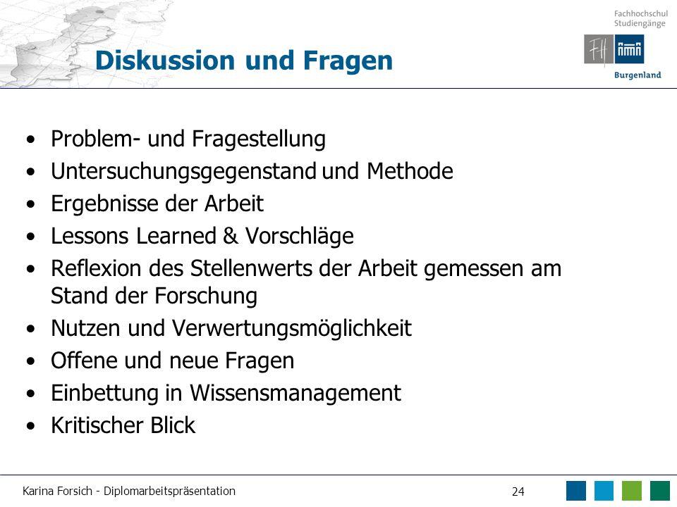 Karina Forsich - Diplomarbeitspräsentation 24 Diskussion und Fragen Problem- und Fragestellung Untersuchungsgegenstand und Methode Ergebnisse der Arbe