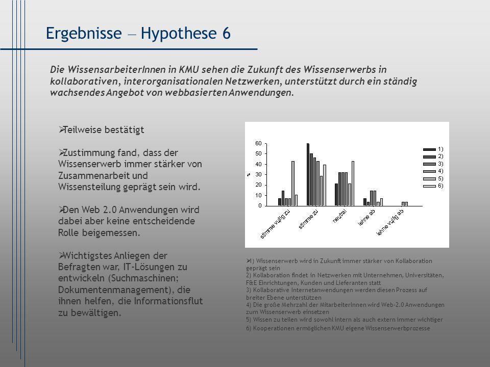 Ergebnisse – Hypothese 6 1) Wissenserwerb wird in Zukunft immer stärker von Kollaboration geprägt sein 2) Kollaboration findet in Netzwerken mit Unter