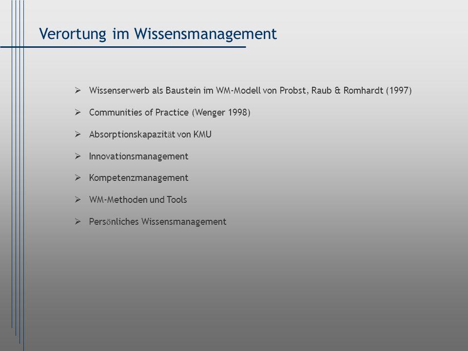 Verortung im Wissensmanagement Wissenserwerb als Baustein im WM-Modell von Probst, Raub & Romhardt (1997) Communities of Practice (Wenger 1998) Absorp