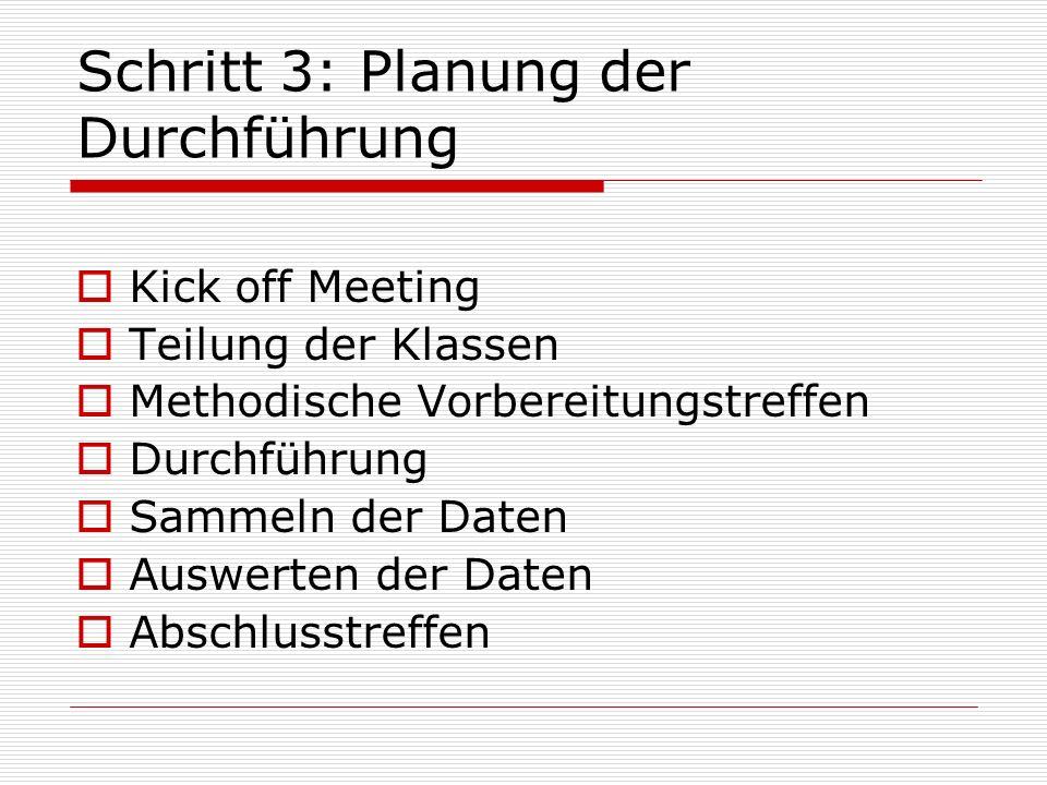 Schritt 3: Planung der Durchführung Kick off Meeting Teilung der Klassen Methodische Vorbereitungstreffen Durchführung Sammeln der Daten Auswerten der