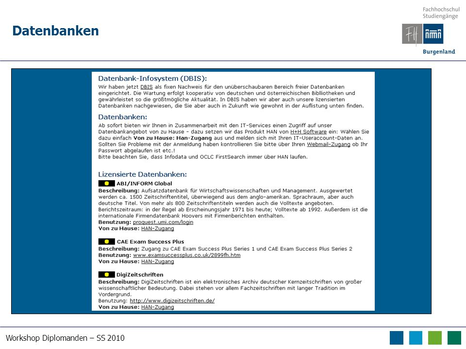 Workshop Diplomanden – SS 2010 Datenbanken