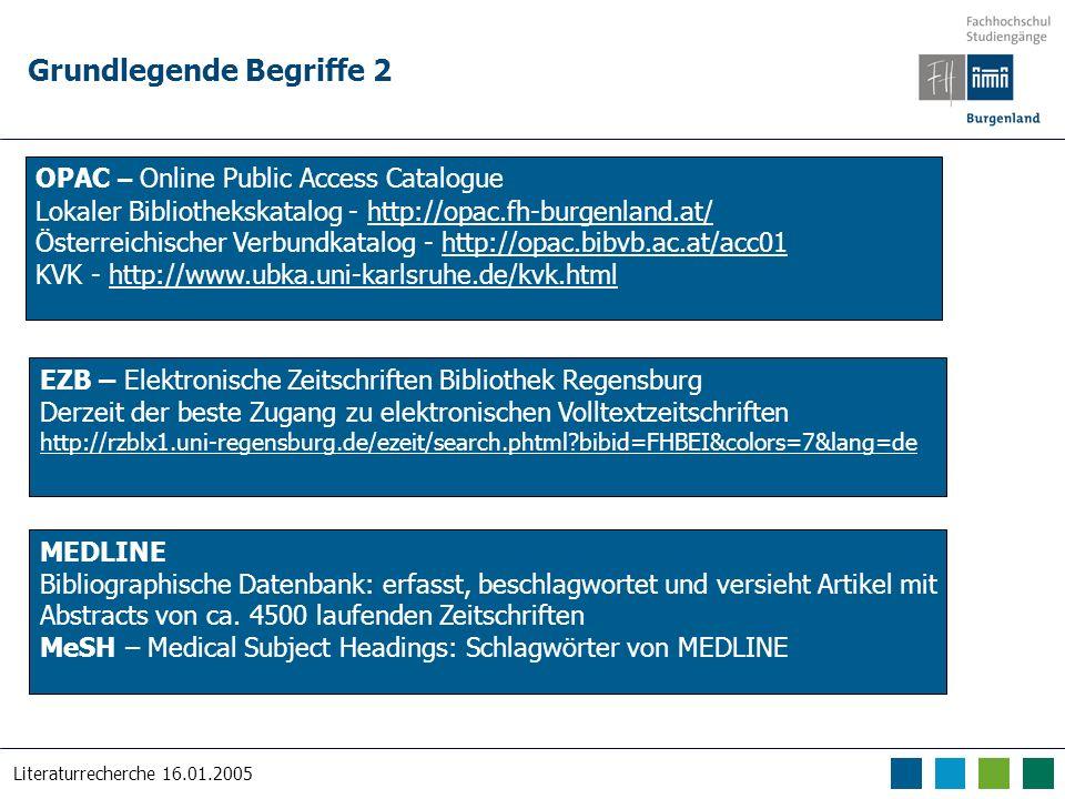 Literaturrecherche 16.01.2005 Grundlegende Begriffe 2 OPAC – Online Public Access Catalogue Lokaler Bibliothekskatalog - http://opac.fh-burgenland.at/