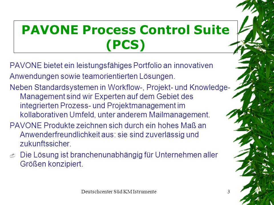 Deutschcenter Süd KM Istrumente4 PAVONE Process Control Suite (PCS) Typische vom System unterstützte Anwendungsszenarien: Basierend auf Lotus Domino ist PCS eine branchenunabhängige, groupware basierende Lösung für das Adress-, Korrespondenz- und Dokumentenmanagement im Bürobereich 2.