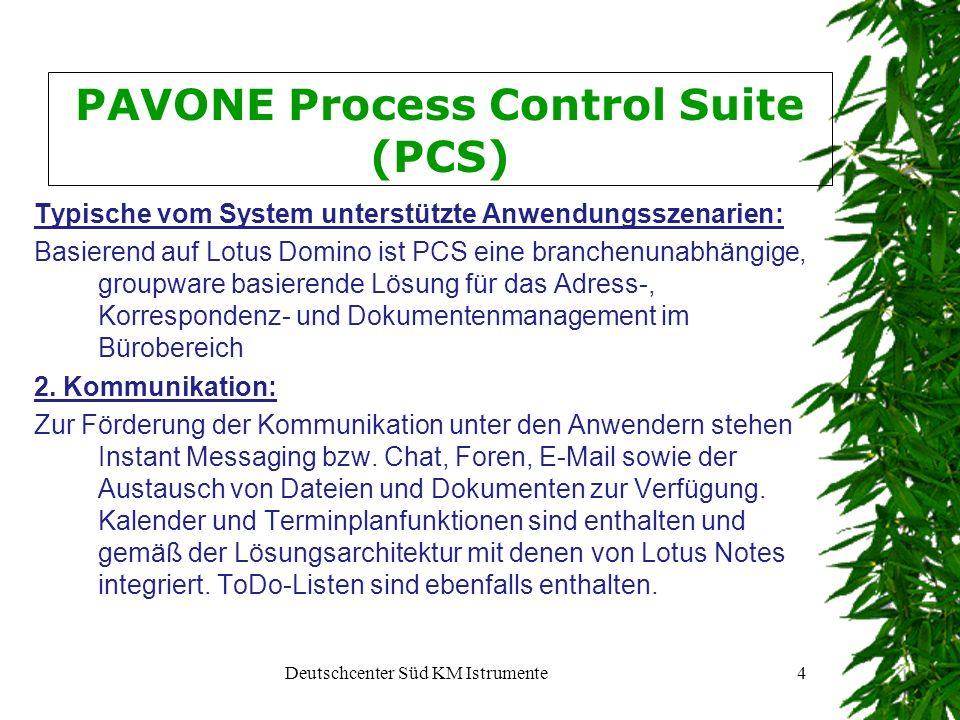 Deutschcenter Süd KM Istrumente5 PAVONE Process Control Suite (PCS) Suche: Die Suche erschließt Inhalte des Systems und nach erfolgtem Customizing auch Inhalte anderer Systeme.