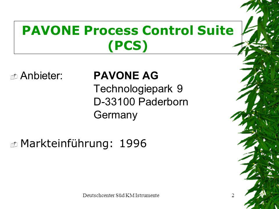 Deutschcenter Süd KM Istrumente2 PAVONE Process Control Suite (PCS) Anbieter: PAVONE AG Technologiepark 9 D-33100 Paderborn Germany Markteinführung: 1