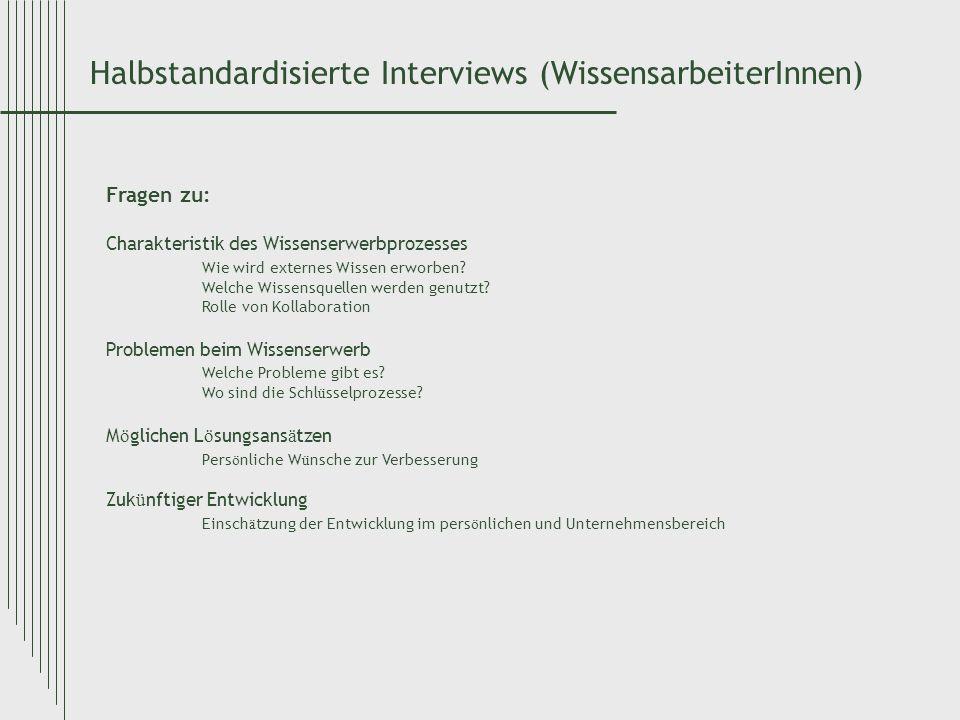 Halbstandardisierte Interviews (WissensarbeiterInnen) Fragen zu: Charakteristik des Wissenserwerbprozesses Wie wird externes Wissen erworben? Welche W