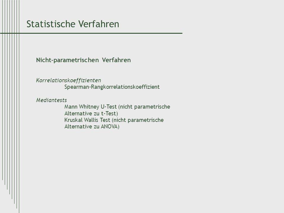 Statistische Verfahren Nicht-parametrischen Verfahren Korrelationskoeffizienten Spearman-Rangkorrelationskoeffizient Mediantests Mann Whitney U-Test (