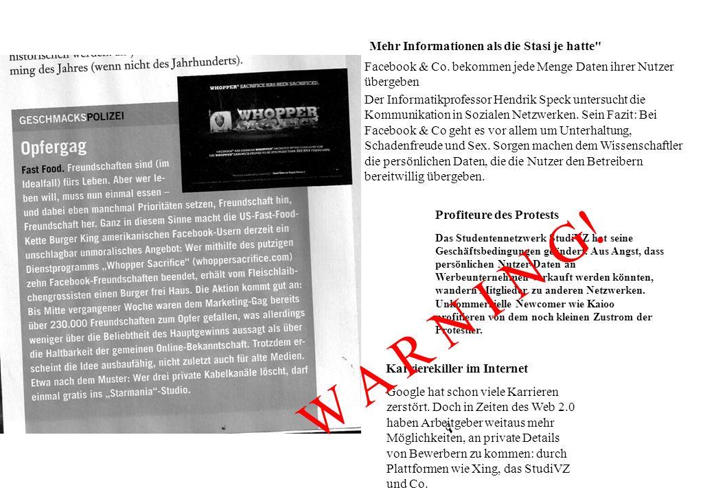 Mehr Informationen als die Stasi je hatte Facebook & Co.