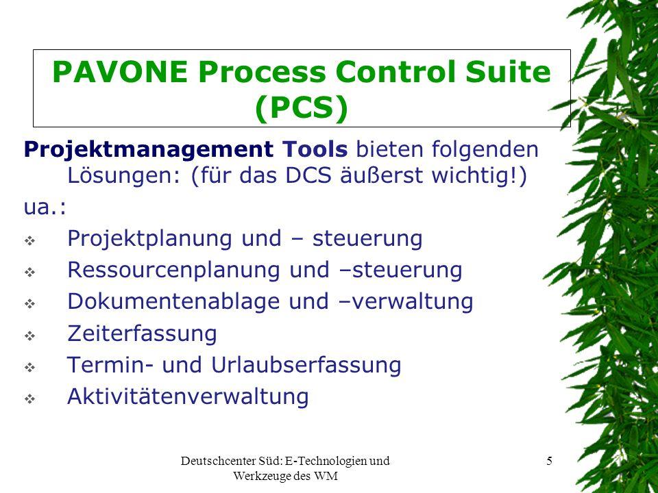 Deutschcenter Süd: E-Technologien und Werkzeuge des WM 5 PAVONE Process Control Suite (PCS) Projektmanagement Tools bieten folgenden Lösungen: (für da