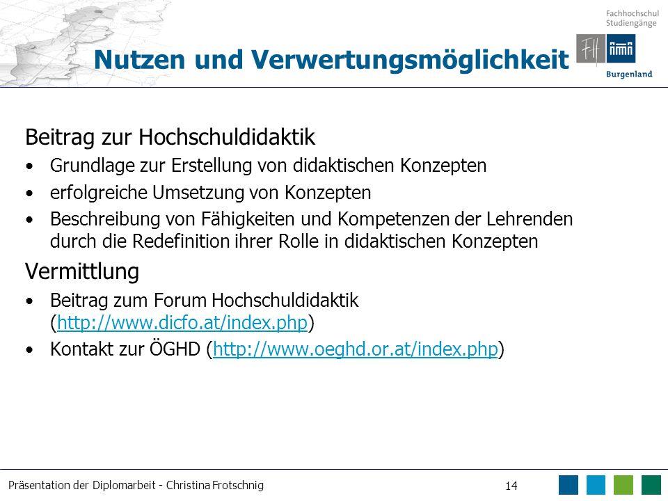 Präsentation der Diplomarbeit - Christina Frotschnig 14 Nutzen und Verwertungsmöglichkeit Beitrag zur Hochschuldidaktik Grundlage zur Erstellung von d
