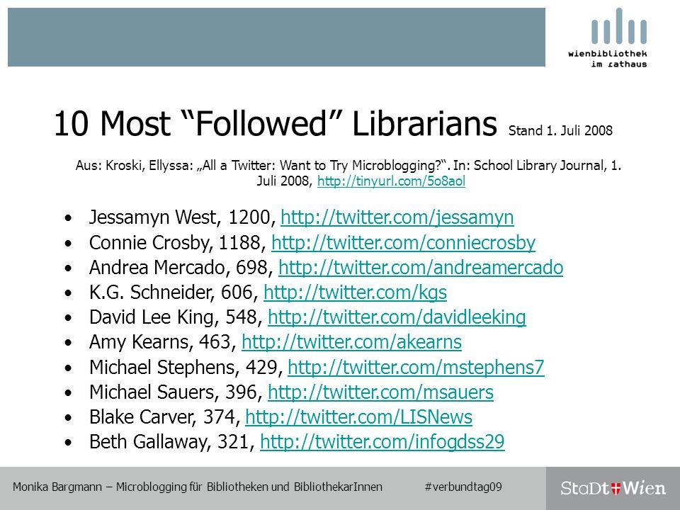Monika Bargmann – Microblogging für Bibliotheken und BibliothekarInnen #verbundtag09 10 Most Followed Librarians Stand 1.