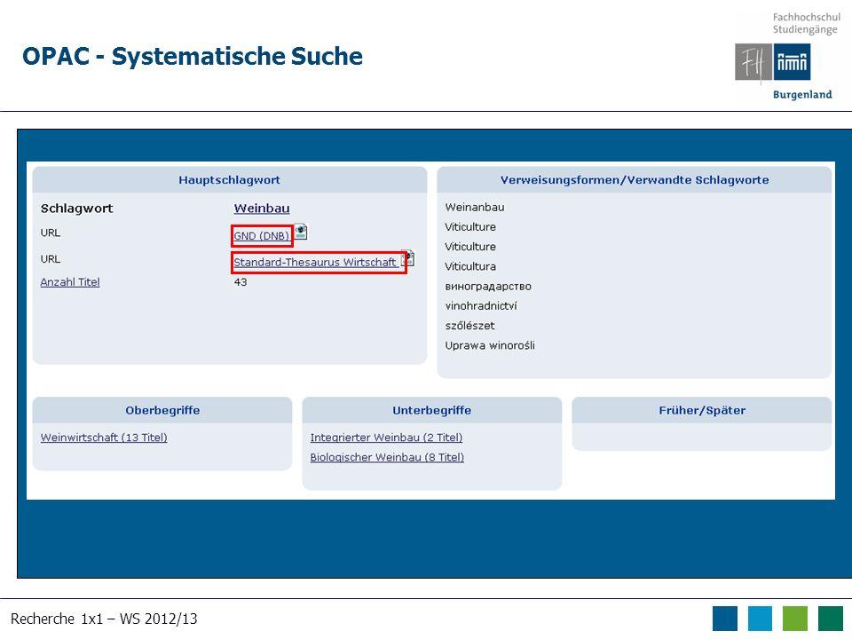 Recherche 1x1 – WS 2012/13 OPAC - Systematische Suche Suche nach human*