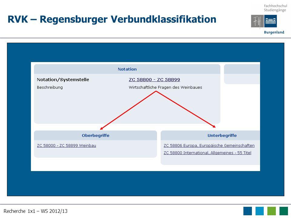 Recherche 1x1 – WS 2012/13 RVK – Regensburger Verbundklassifikation