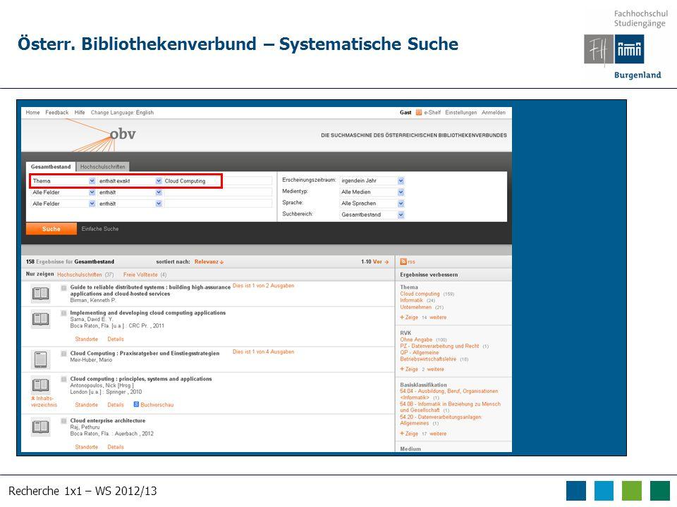 Recherche 1x1 – WS 2012/13 Österr. Bibliothekenverbund – Systematische Suche