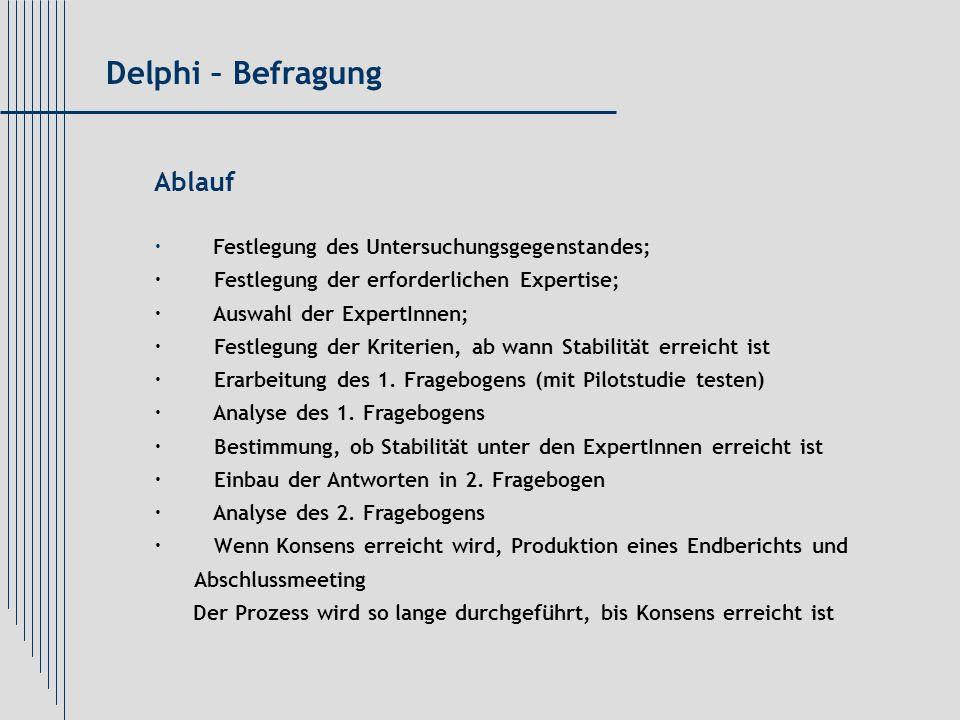 Ablauf · Festlegung des Untersuchungsgegenstandes; · Festlegung der erforderlichen Expertise; · Auswahl der ExpertInnen; · Festlegung der Kriterien, a