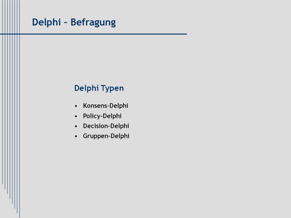 Delphi Typen Konsens-Delphi Policy-Delphi Decision-Delphi Gruppen-Delphi Delphi – Befragung
