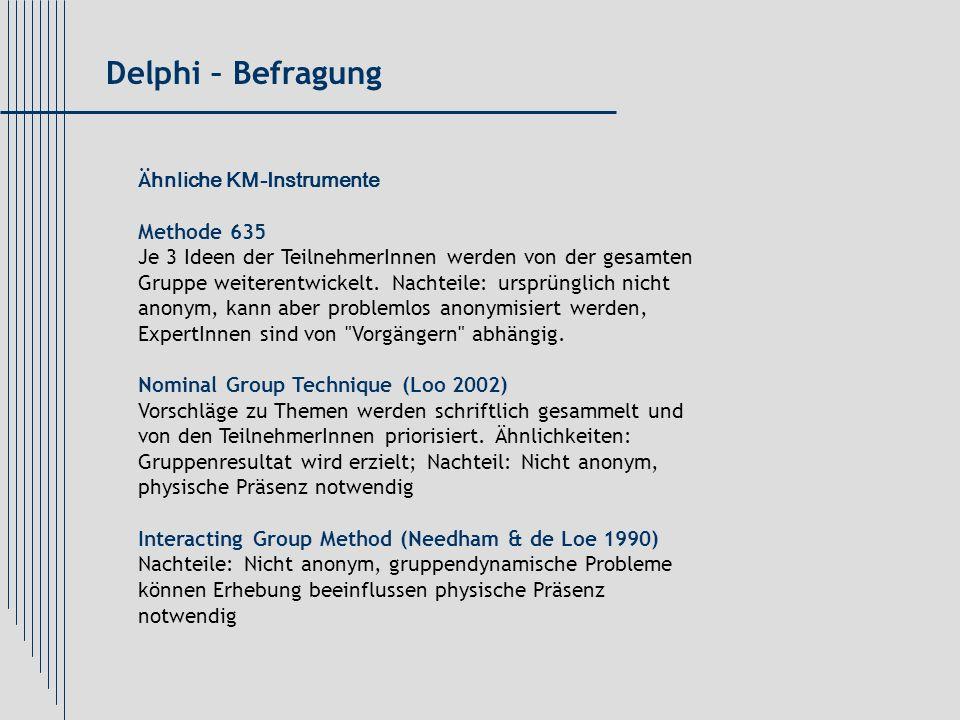 Ä hnliche KM-Instrumente Methode 635 Je 3 Ideen der TeilnehmerInnen werden von der gesamten Gruppe weiterentwickelt. Nachteile: ursprünglich nicht ano