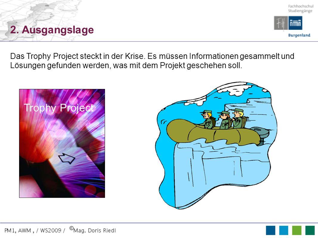 Trophy Project 2. Ausgangslage Das Trophy Project steckt in der Krise. Es müssen Informationen gesammelt und Lösungen gefunden werden, was mit dem Pro