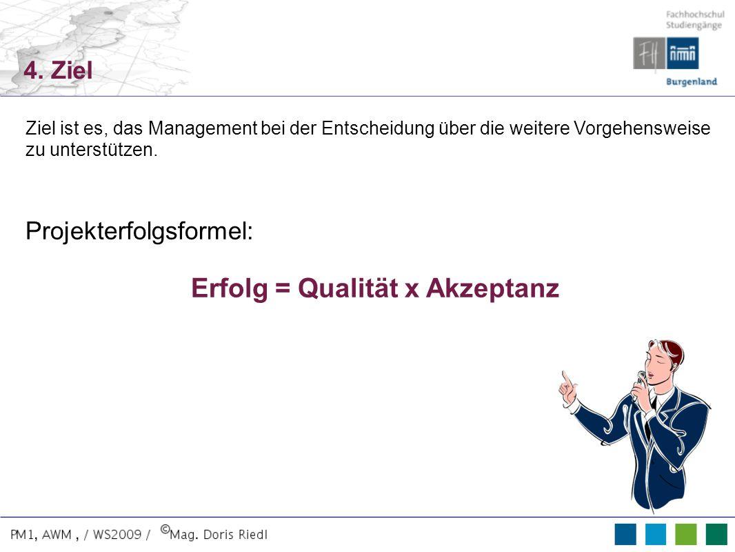 4. Ziel Ziel ist es, das Management bei der Entscheidung über die weitere Vorgehensweise zu unterstützen. Projekterfolgsformel: Erfolg = Qualität x Ak