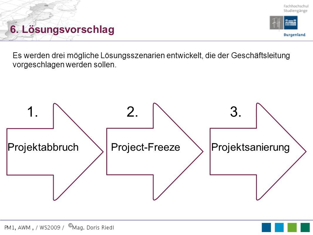 6. Lösungsvorschlag Es werden drei mögliche Lösungsszenarien entwickelt, die der Geschäftsleitung vorgeschlagen werden sollen. The Trophy Project Proj