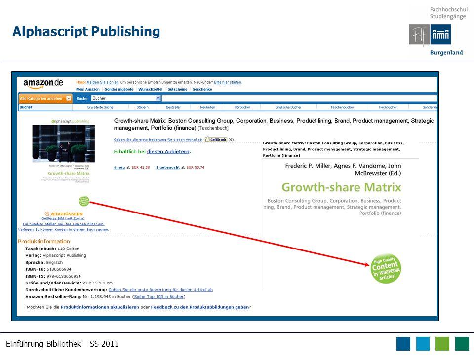 Einführung Bibliothek – SS 2011 Alphascript Publishing