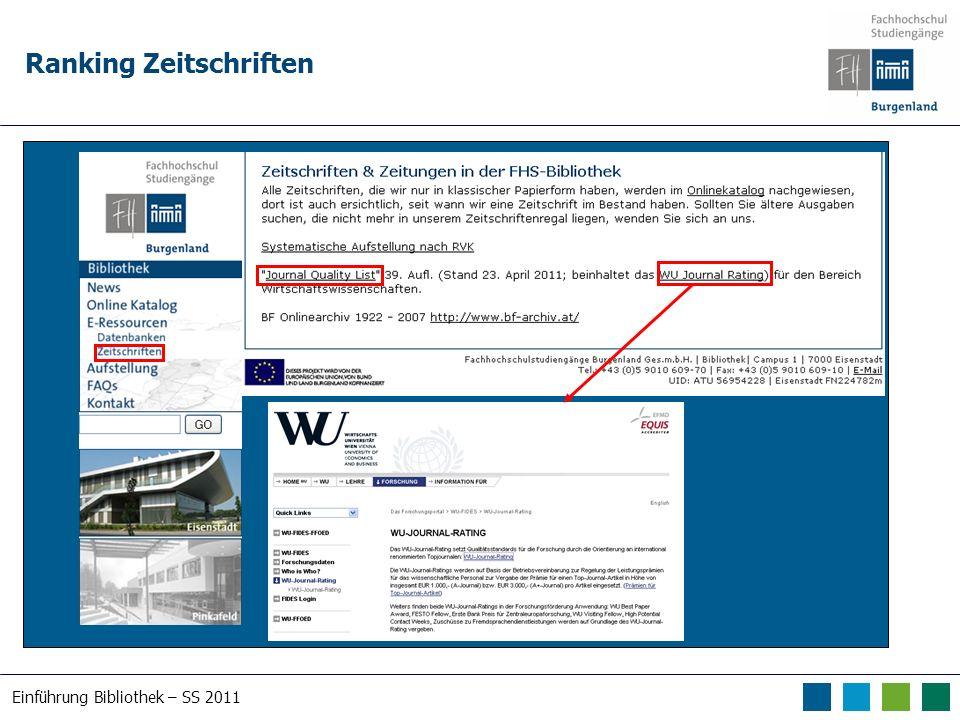 Einführung Bibliothek – SS 2011 Ranking Zeitschriften