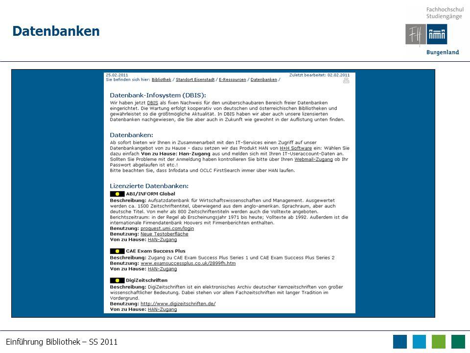 Einführung Bibliothek – SS 2011 Datenbanken