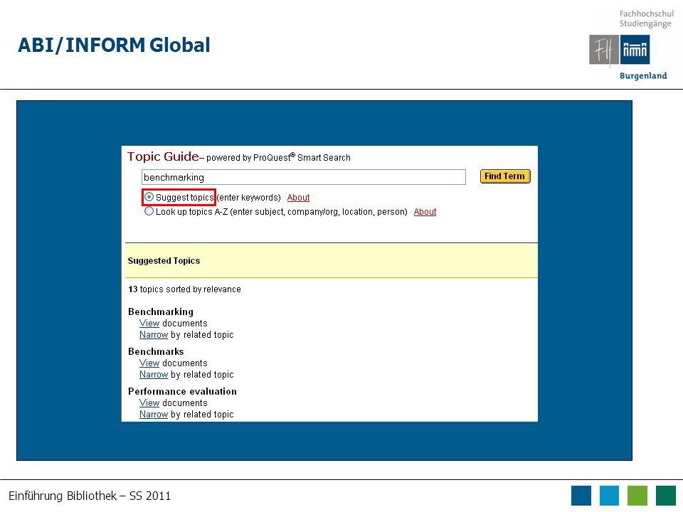 Einführung Bibliothek – SS 2011 ABI/INFORM Global