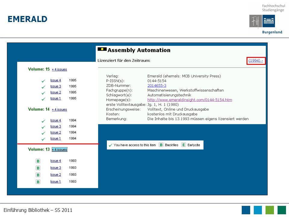 Einführung Bibliothek – SS 2011 EMERALD