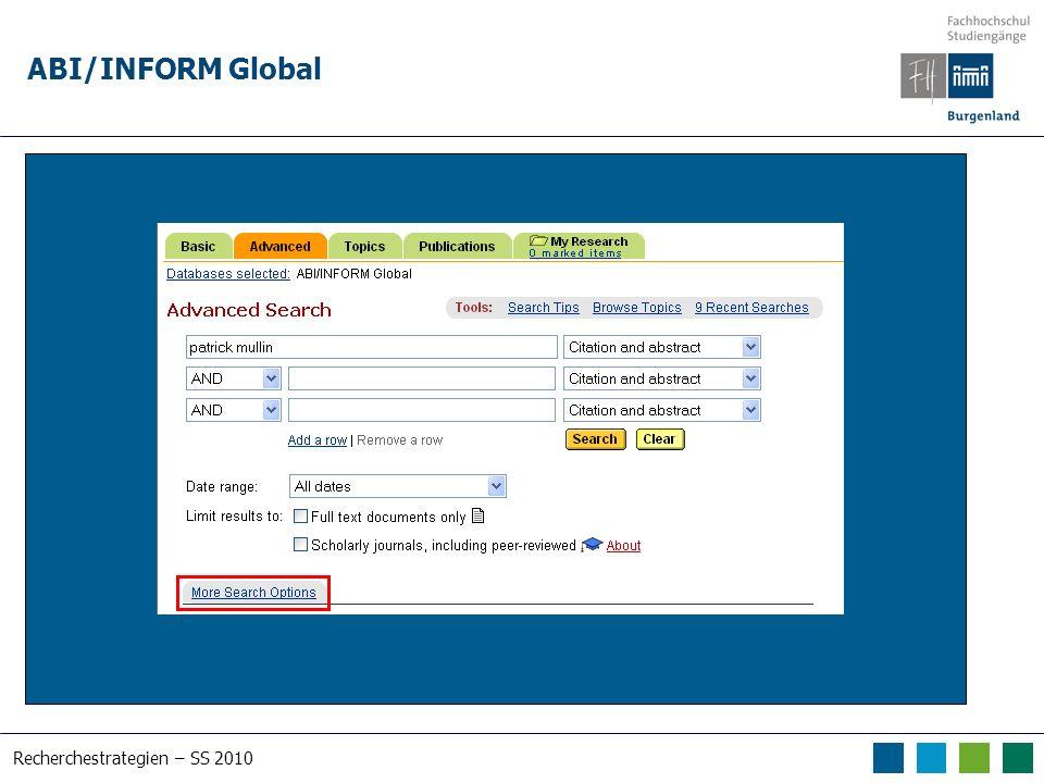 Recherchestrategien – SS 2010 ABI/INFORM Global