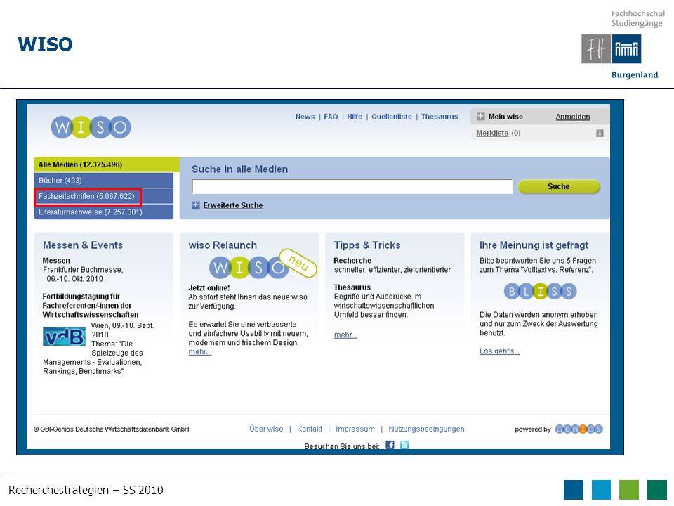 Recherchestrategien – SS 2010 WISO