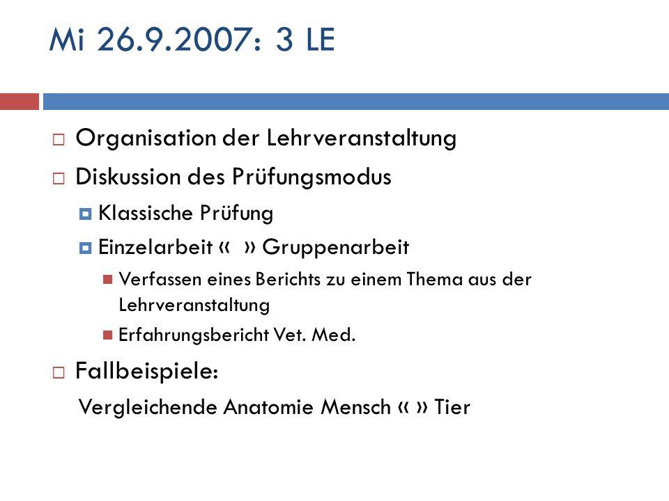 Mi 26.9.2007: 3 LE Organisation der Lehrveranstaltung Diskussion des Prüfungsmodus Klassische Prüfung Einzelarbeit « » Gruppenarbeit Verfassen eines B