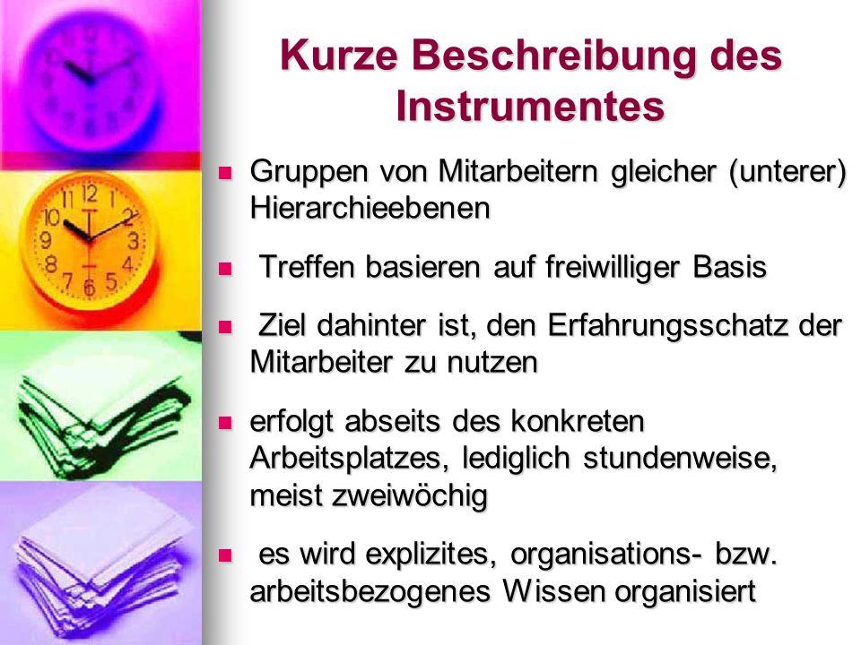 Kurze Beschreibung des Instrumentes Gruppen von Mitarbeitern gleicher (unterer) Hierarchieebenen Gruppen von Mitarbeitern gleicher (unterer) Hierarchi