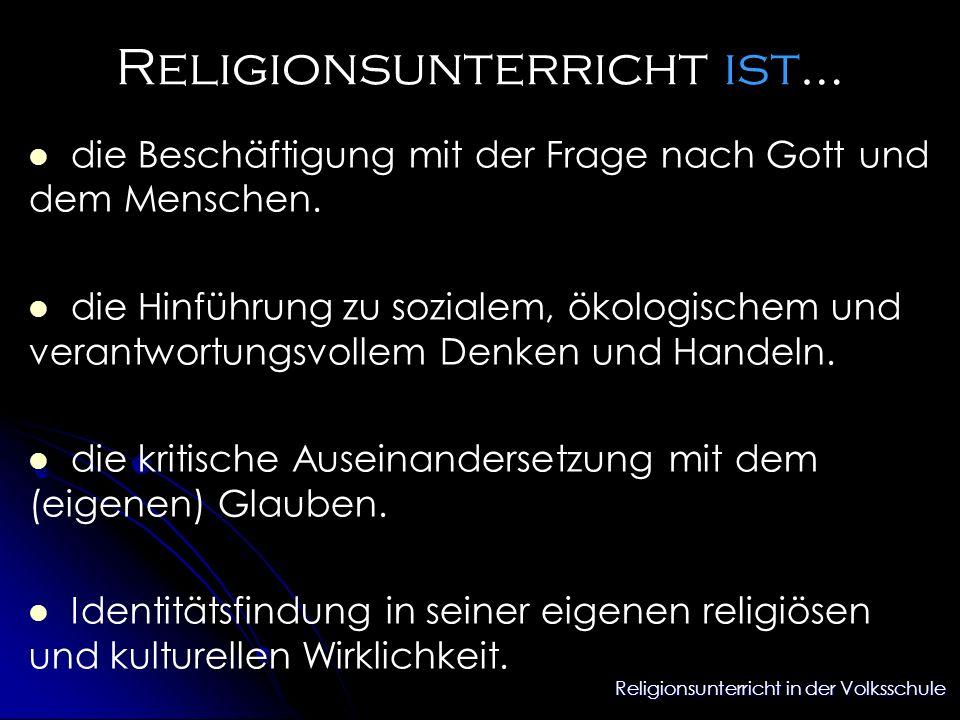 Religionsunterricht in der Volksschule Religionsunterricht ist… die Beschäftigung mit der Frage nach Gott und dem Menschen. die Hinführung zu sozialem