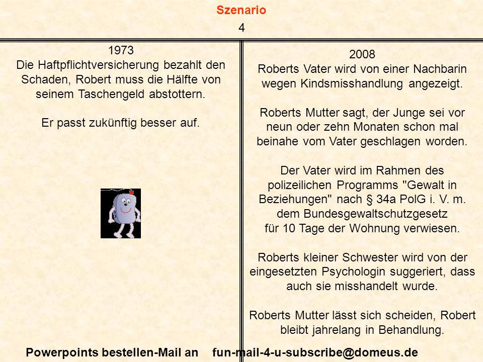 Szenario Powerpoints bestellen-Mail an fun-mail-4-u-subscribe@domeus.de 1973 Die Haftpflichtversicherung bezahlt den Schaden, Robert muss die Hälfte von seinem Taschengeld abstottern.