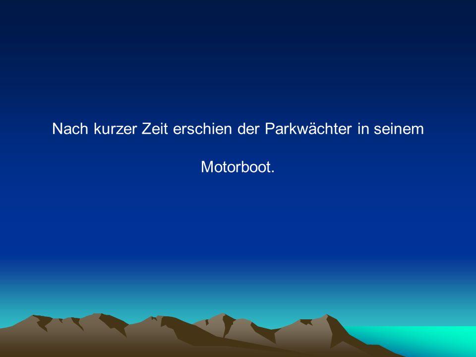 Nach kurzer Zeit erschien der Parkwächter in seinem Motorboot.