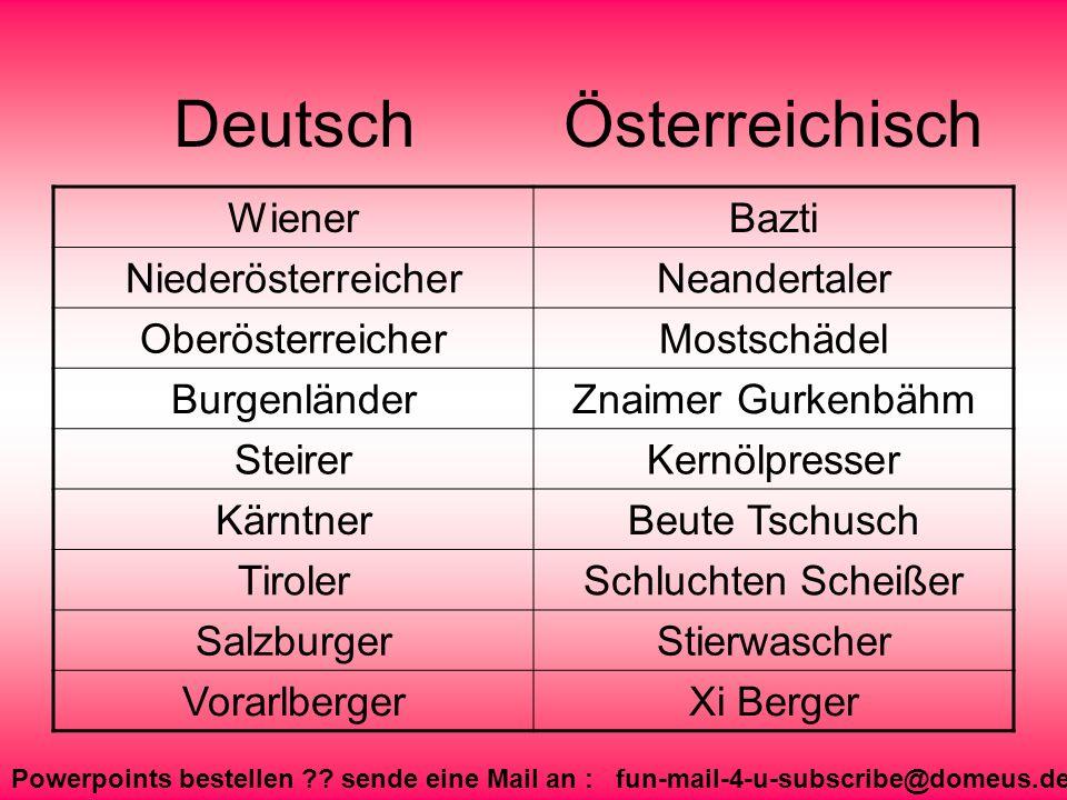 Powerpoints bestellen ?? sende eine Mail an : fun-mail-4-u-subscribe@domeus.de Deutsch WienerBazti NiederösterreicherNeandertaler OberösterreicherMost