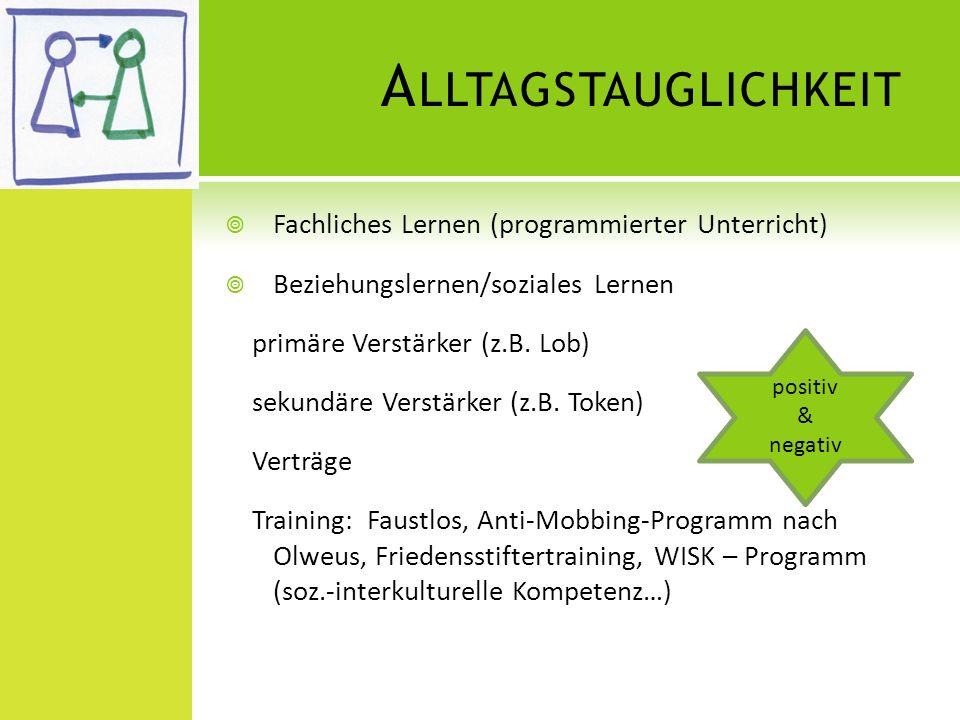 A LLTAGSTAUGLICHKEIT Fachliches Lernen (programmierter Unterricht) Beziehungslernen/soziales Lernen primäre Verstärker (z.B. Lob) sekundäre Verstärker